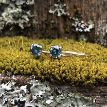 Load image into Gallery viewer, Montana Sapphire Blue Round Leaverback Earrings .60 ctw
