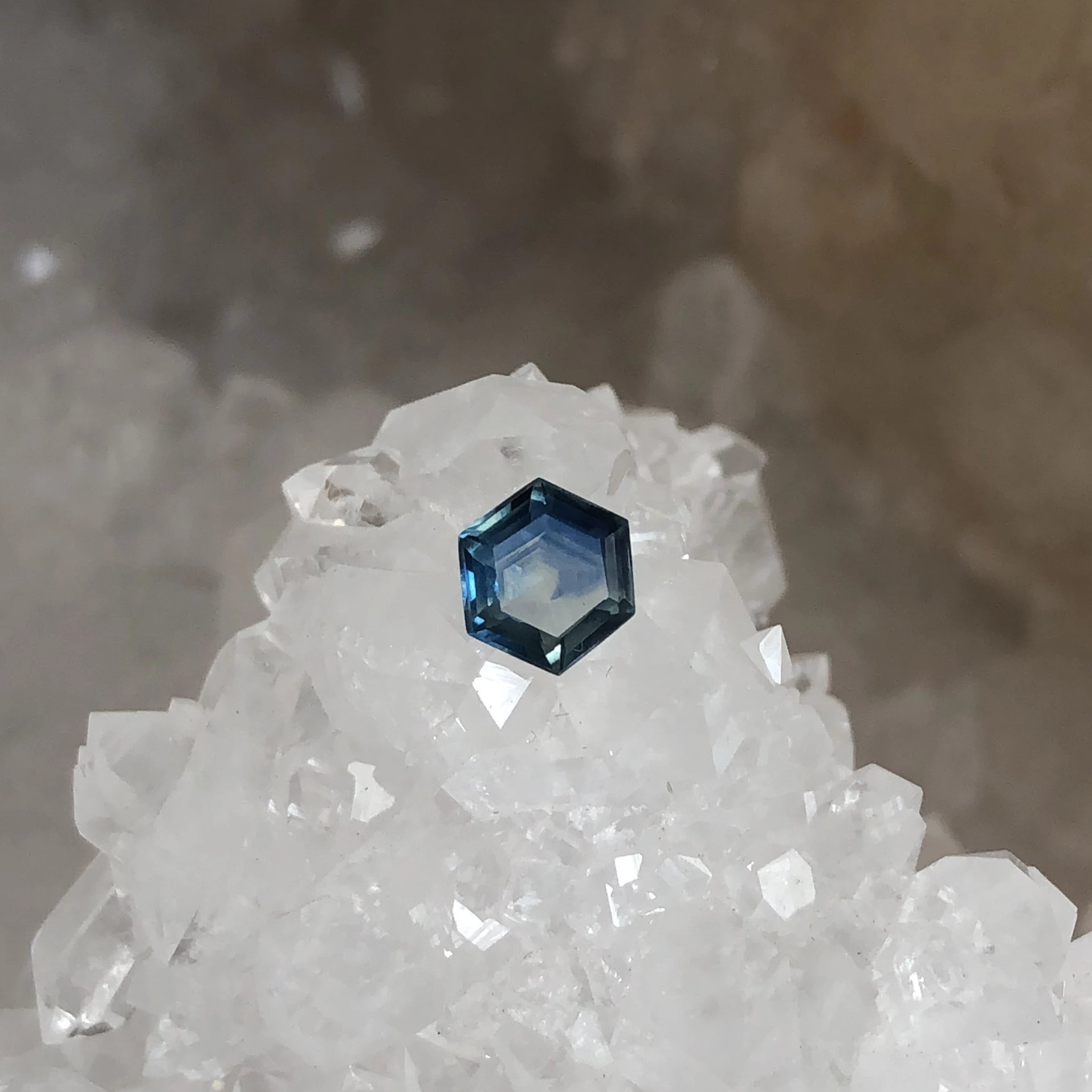 Montana Sapphire Blue and White Hexagon Cut .72 carat