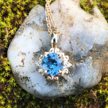 Load image into Gallery viewer, Montana Sapphire .79 carat and Diamond Scroll Pendant