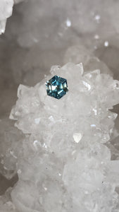 Montana Sapphire .75 Carat Bi Color Blue and Yellow Step Cut Hexagon