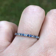 Load image into Gallery viewer, Montana Sapphire and White Sapphire .44 carat 14k White Gold Band
