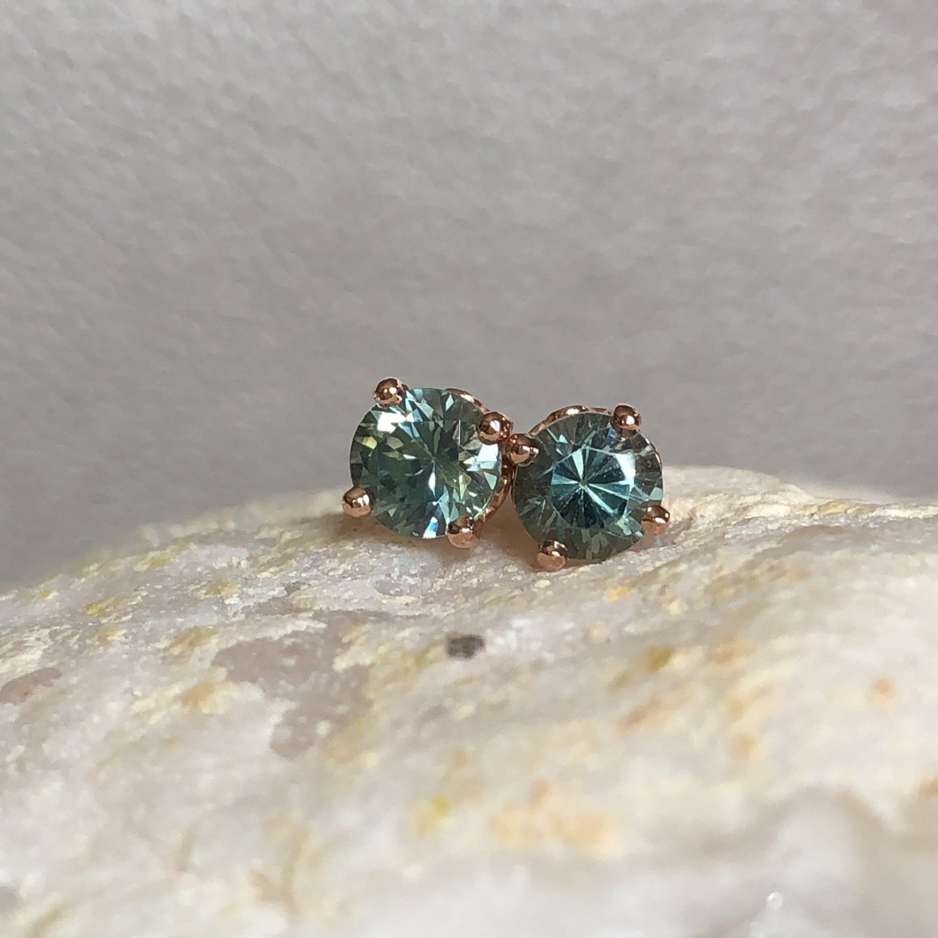 Montana Sapphire Green Blue .97 ctw 14k Rose Gold Scroll Stud Earrings