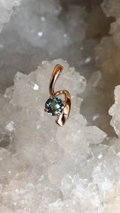 Montana Sapphire Checkerboard Round 1.00ct Pendant in 14K Rose Gold
