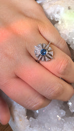 Load image into Gallery viewer, Zona Montana Sapphire and Diamond Starburst Engagement Ring