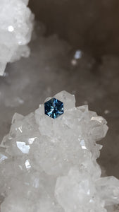 Montana Sapphire 0.61 Ct Cornflower Blue, Silver, Hints of Peach Hexagon Cut