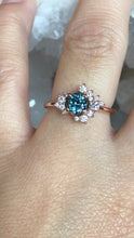 Load image into Gallery viewer, Simone Cluster Ring Teal Montana Sapphire and Diamond Ring 14k Rose Gold