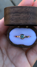 Load image into Gallery viewer, Montana Sapphire .58 Carat Teal Bezel Set Rose Gold Ring