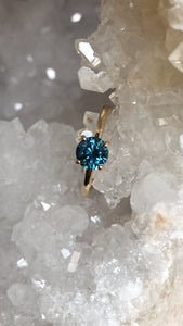 Montana Sapphire Sharaya Solitaire Teal Round 1.32 carat 14k Yellow Gold Engagement Ring