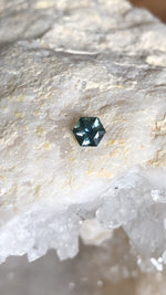 Load image into Gallery viewer, Montana Sapphire .81 Carat Blue Green Brilliant Hexagon Cut