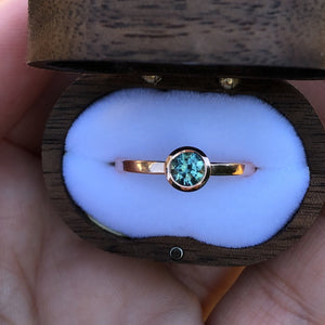 Montana Sapphire .58 Carat Teal Bezel Set Rose Gold Ring