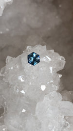 Load image into Gallery viewer, Montana Sapphire 0.61 Ct Cornflower Blue, Silver, Hints of Peach Hexagon Cut