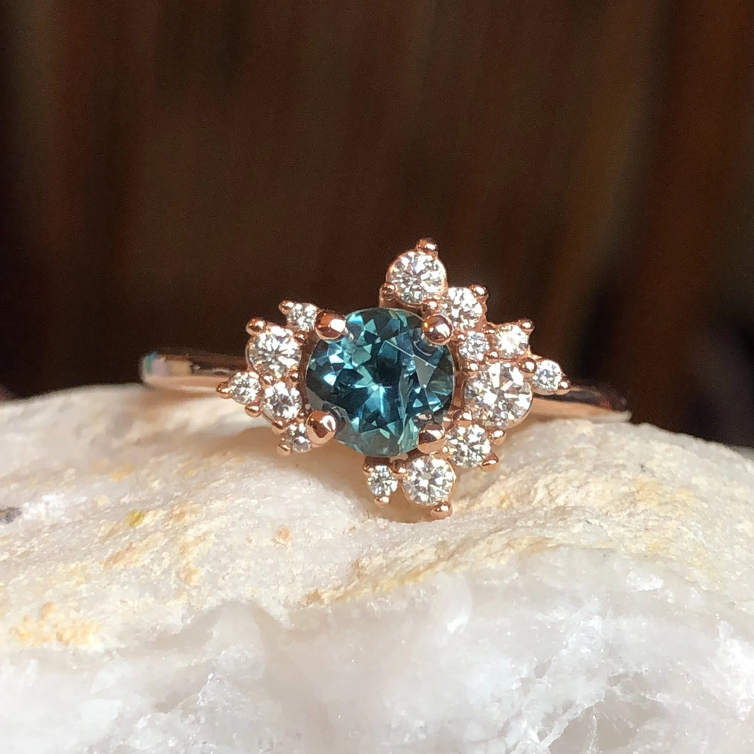 Simone Cluster Ring Teal Montana Sapphire and Diamond Ring 14k Rose Gold