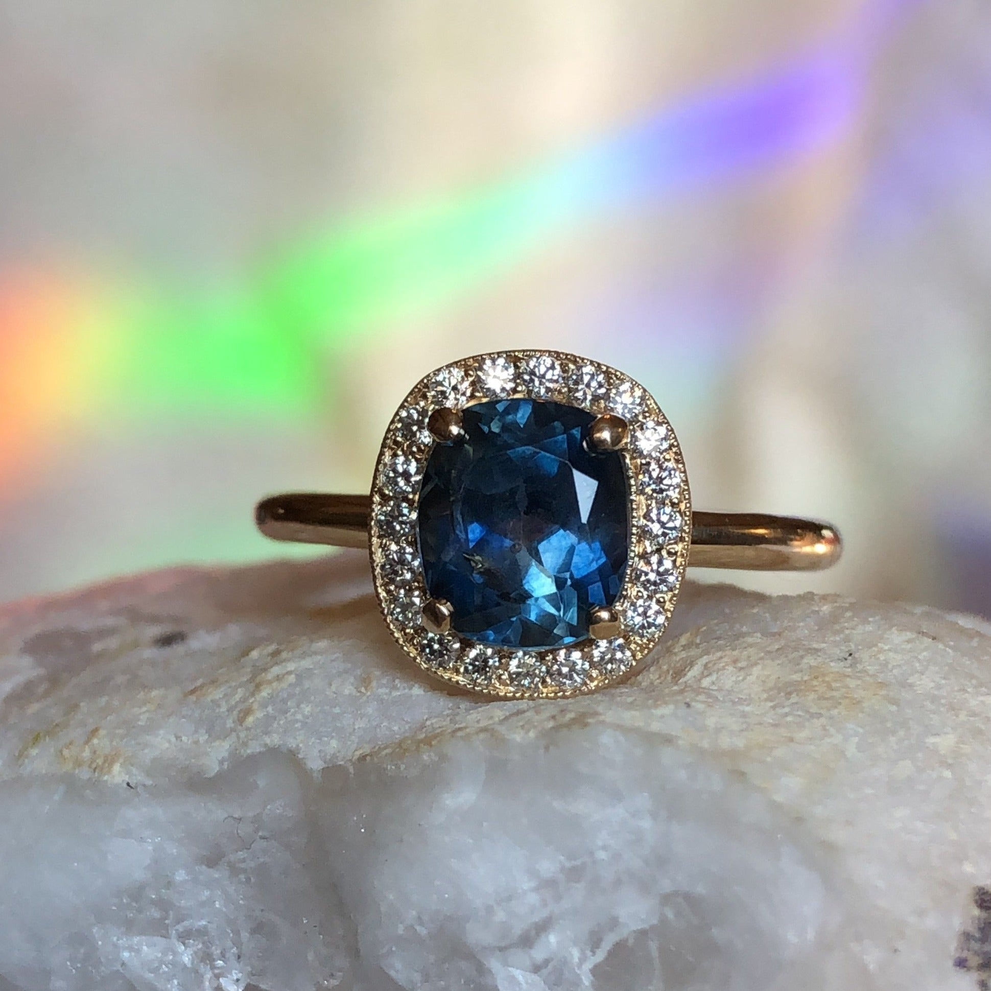 Montana Sapphire Cushion Cut Starry Night Halo Ring in 14 karat Yellow Gold