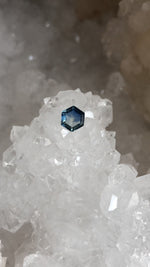 Load image into Gallery viewer, Montana Sapphire Blue and White Hexagon Cut .72 carat