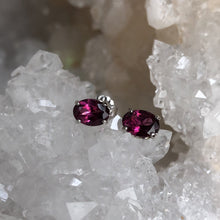 Load image into Gallery viewer, Rhodolite Garnet Earrings with Fleur De Lis Details in 14k White Gold