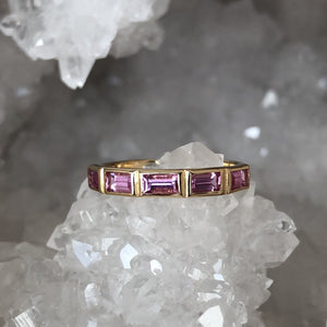 Pink Sapphire Band in 14k Yellow Gold