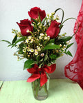 Three 3 rose flower arrangement mother's day gift clovis fresno contactless delivery