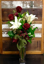 Three 3 roses and stargazer lily mother's day gift clovis fresno contactless delivery