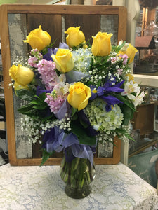 premium spring mix flower arrangement clovis florist mother's day delivery yellow roses