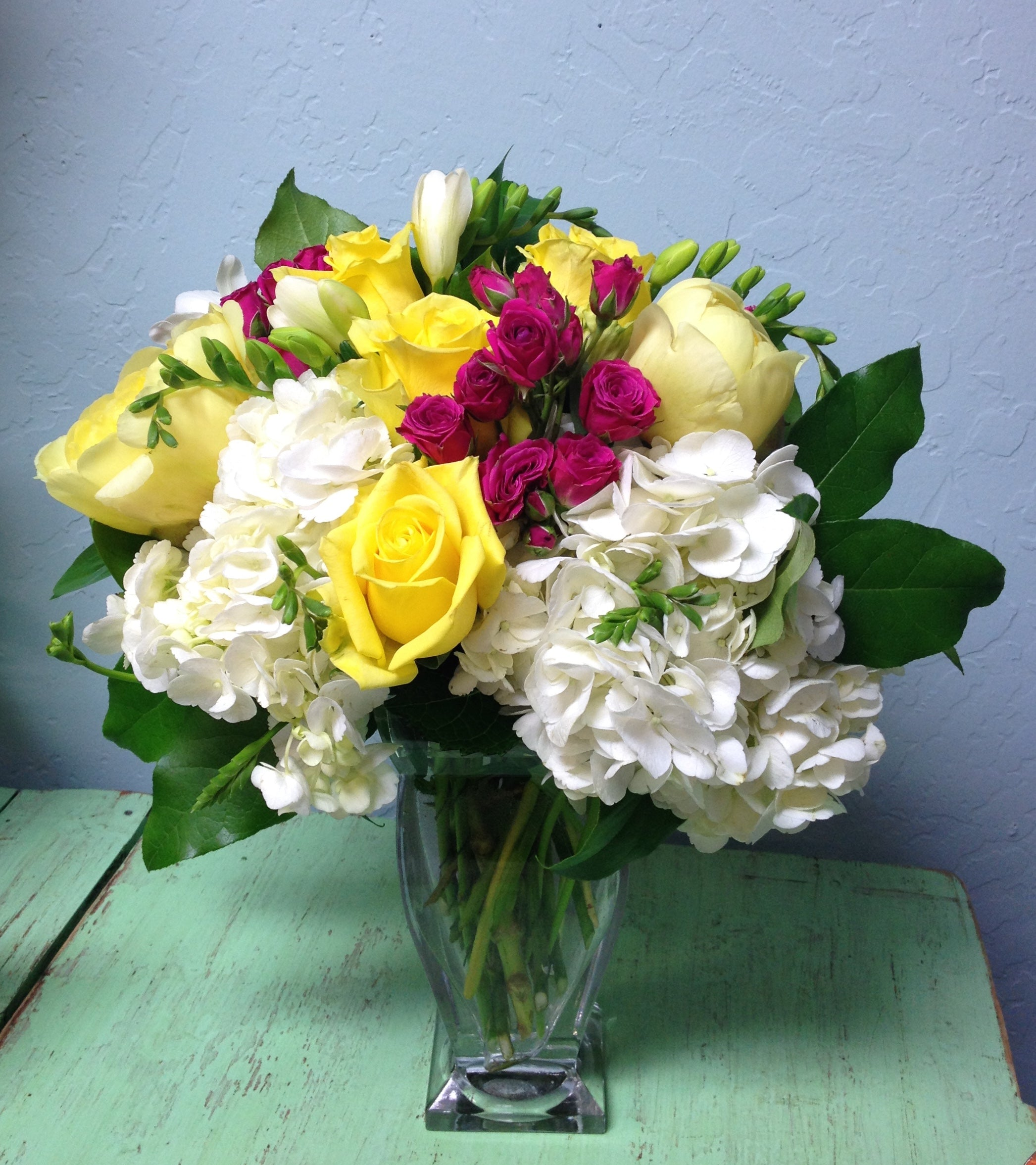yellow and pink luxury floral arrangement clovis florist mother's day delivery gift ideas
