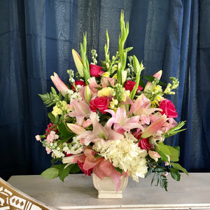 lily and rose sympathy arrangement