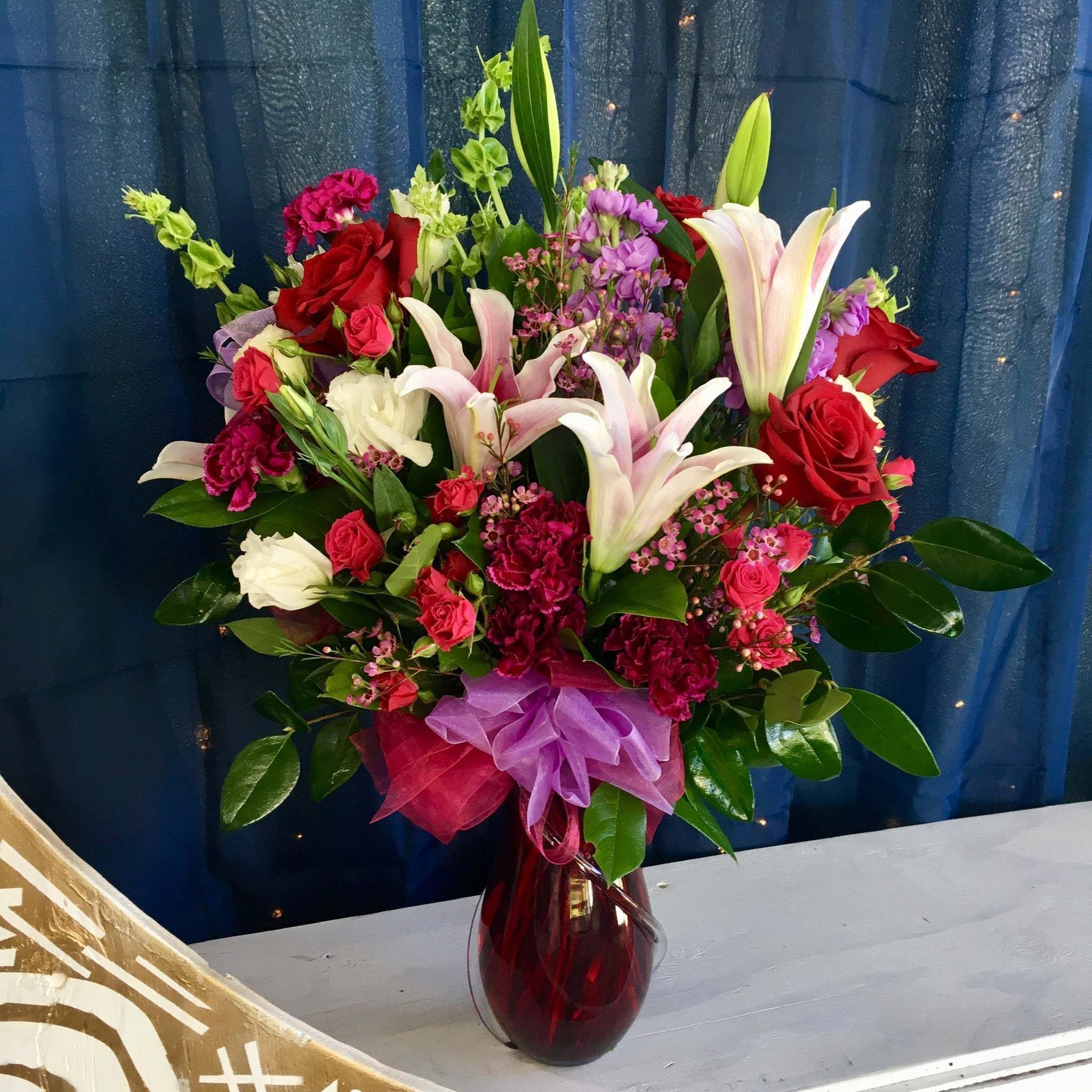 red, pink, purple and white valentine's flowers roses stargazer lilies clovis fresno deliverys
