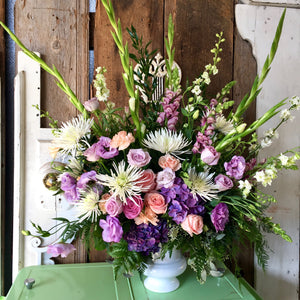 pink and purple funeral flowers