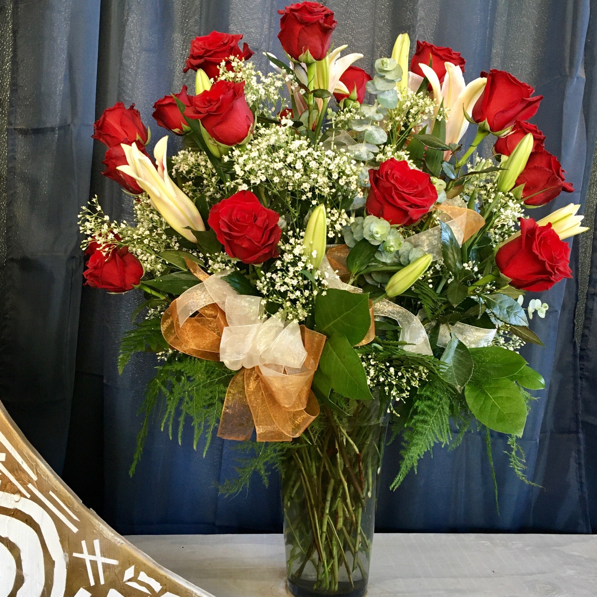 2 Dozen Roses with Stargazers