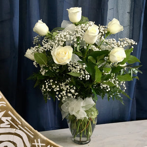 1 dozen long stem white roses clovis ca delivery local florist