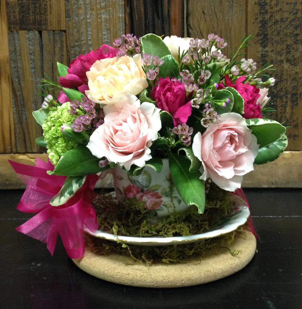 tea cup flower arrangement clovis mothers day florist