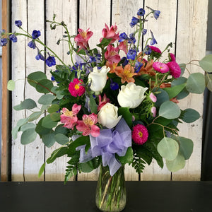 colorful rose alstroemeria eucalyptus arrangement clovis florist mother's day delivery