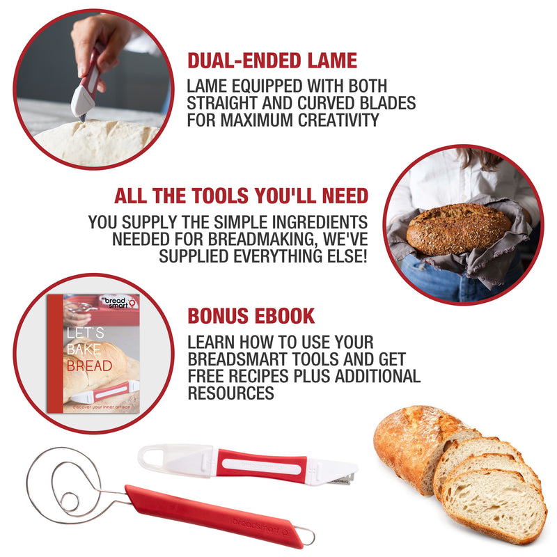 Breadsmart Bread Making Tool Kit - 5-Piece Set with Bonus Recipe Book