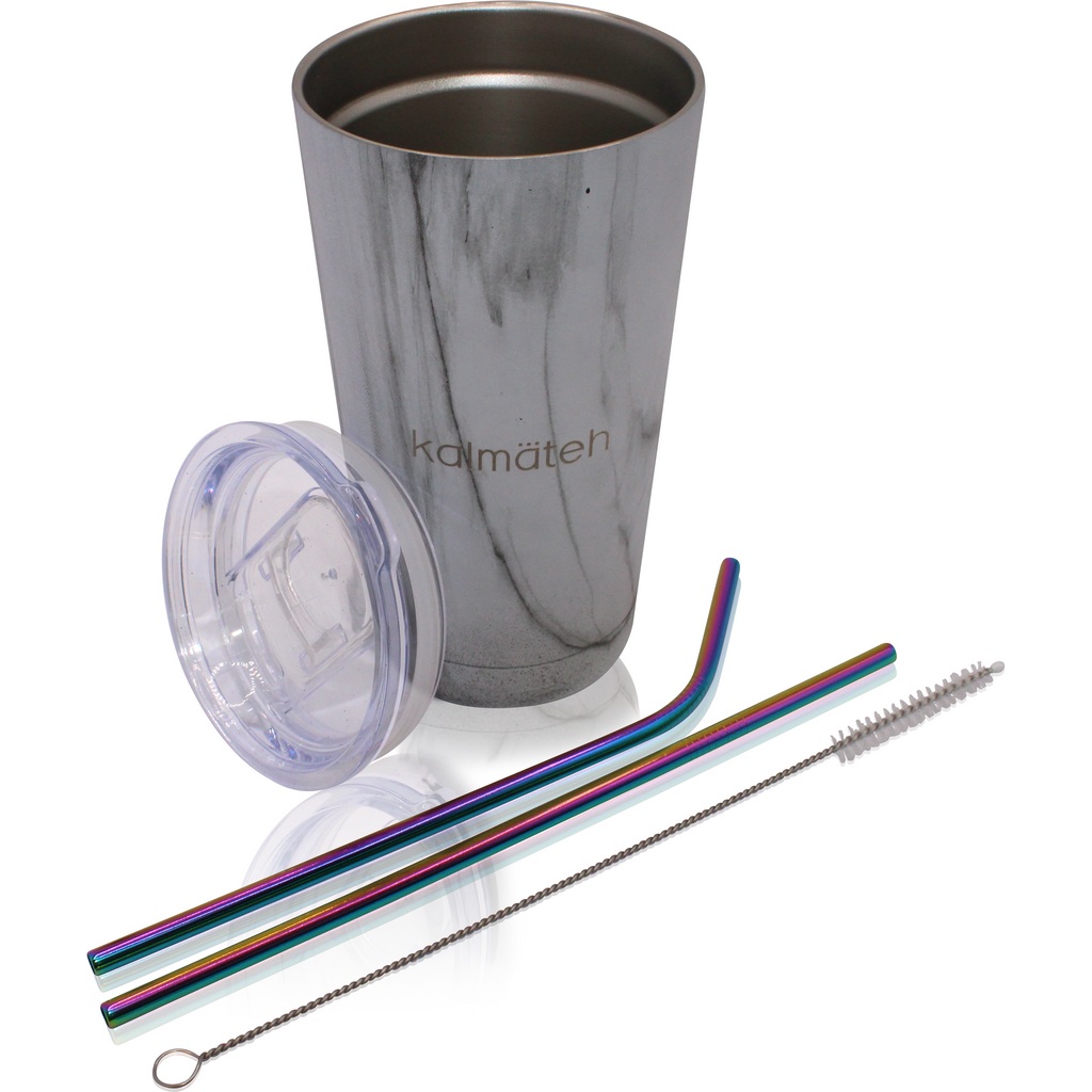 Marble Travel Tumbler (with 2 Straws)