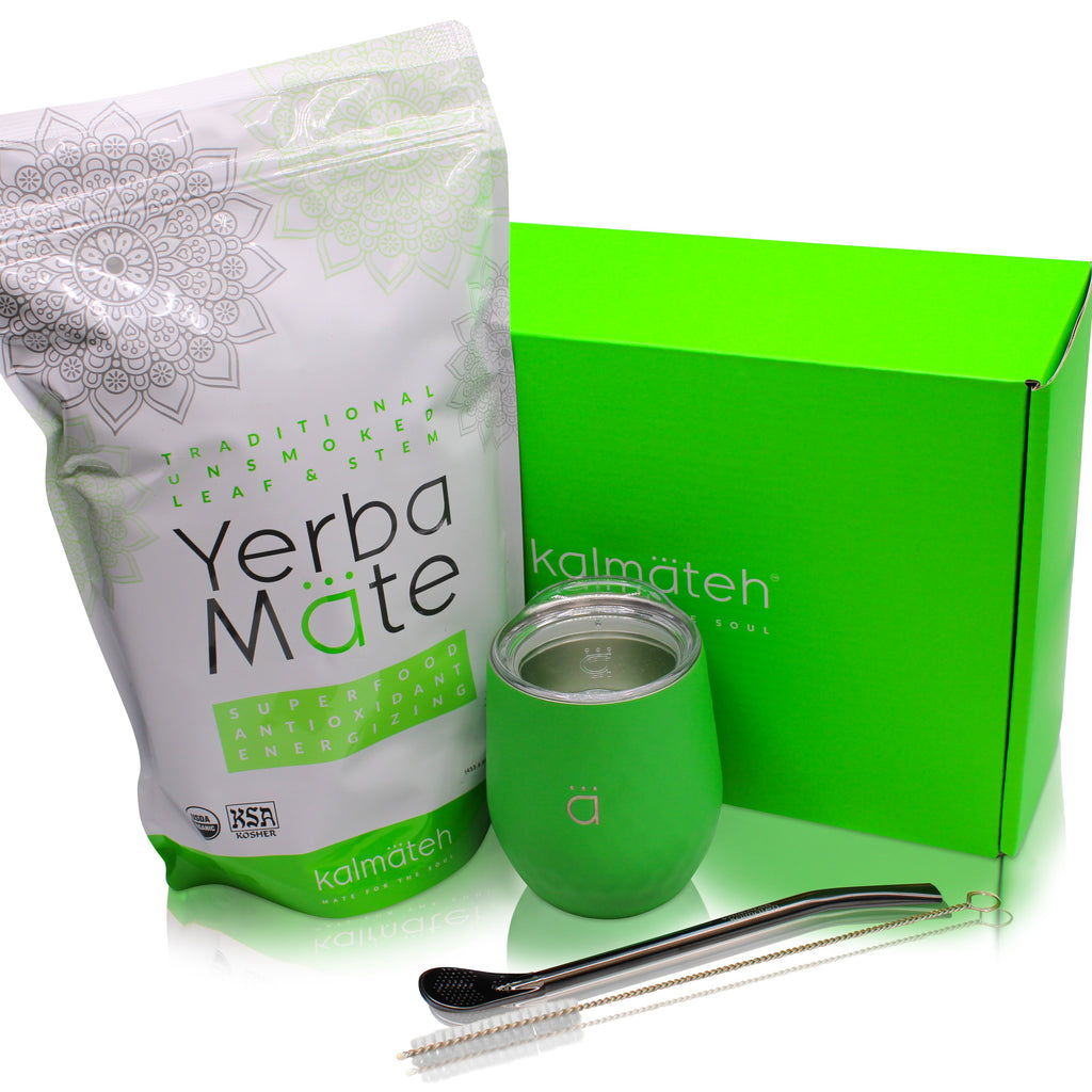 Yerba Mate Starter Set- Neon Green (8 oz.)