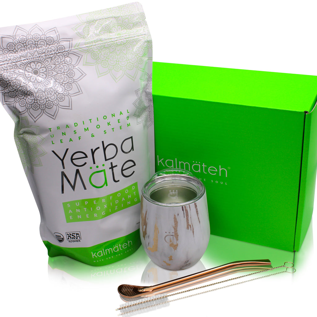 Yerba Mate Starter Set- Gold Marble (8 oz.)