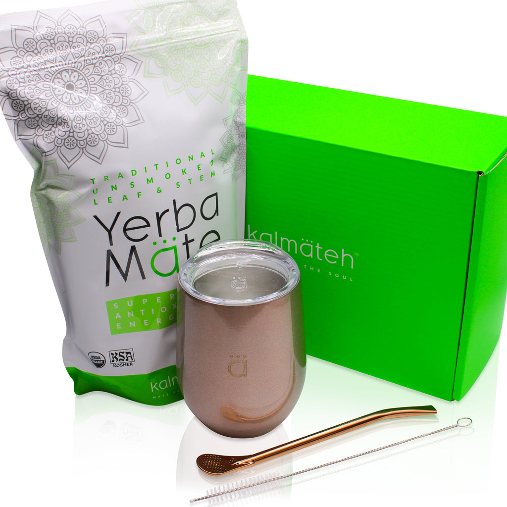 Yerba Mate Starter Set XL- Glitter Rose Gold (12oz.)