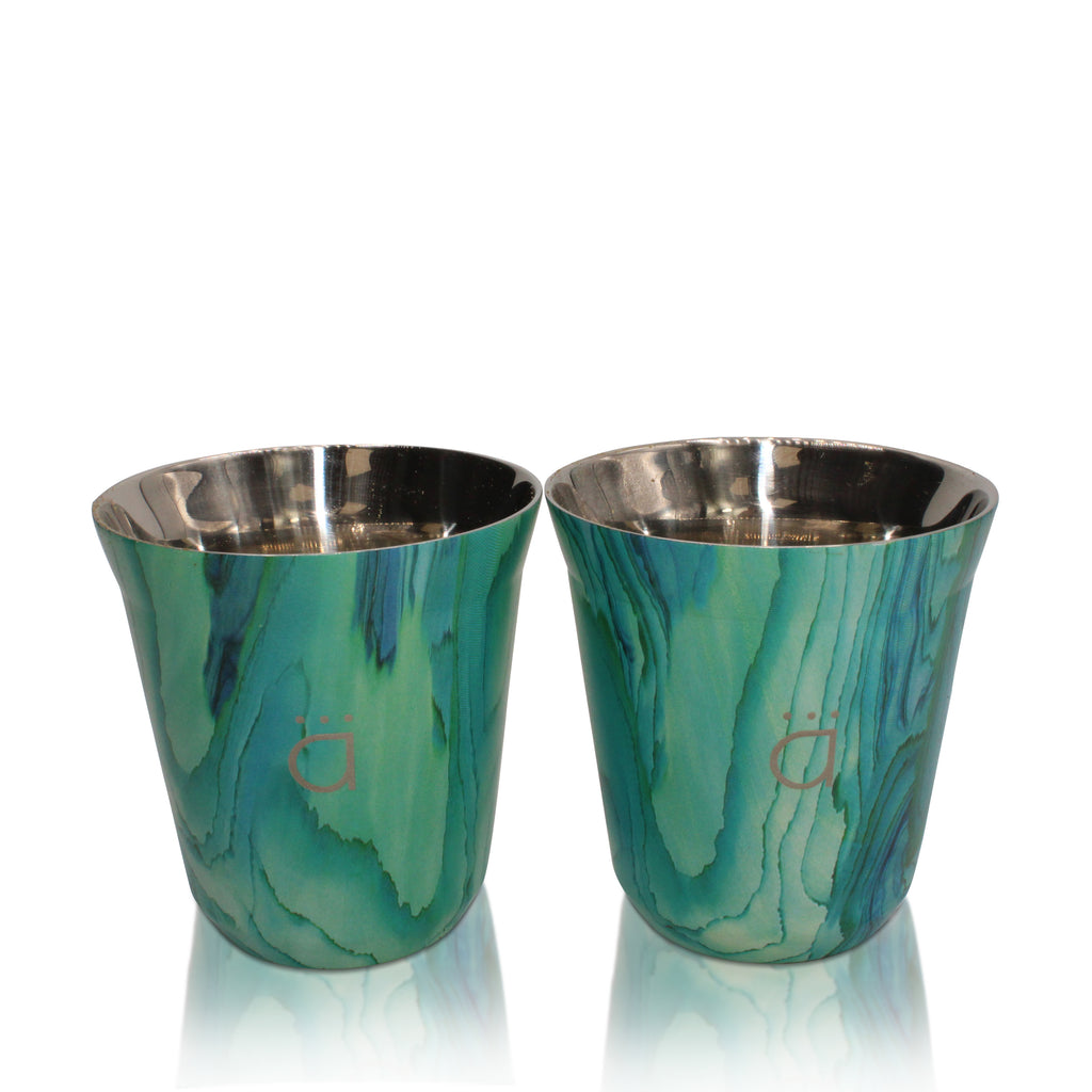 Turquoise Coffee Cups- Set of 2 (5 oz)