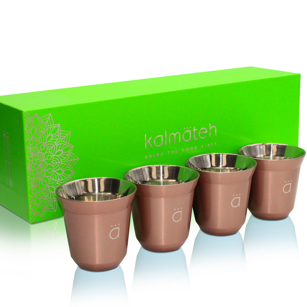 Rose Gold Espresso Coffee Cups (Set of 4)