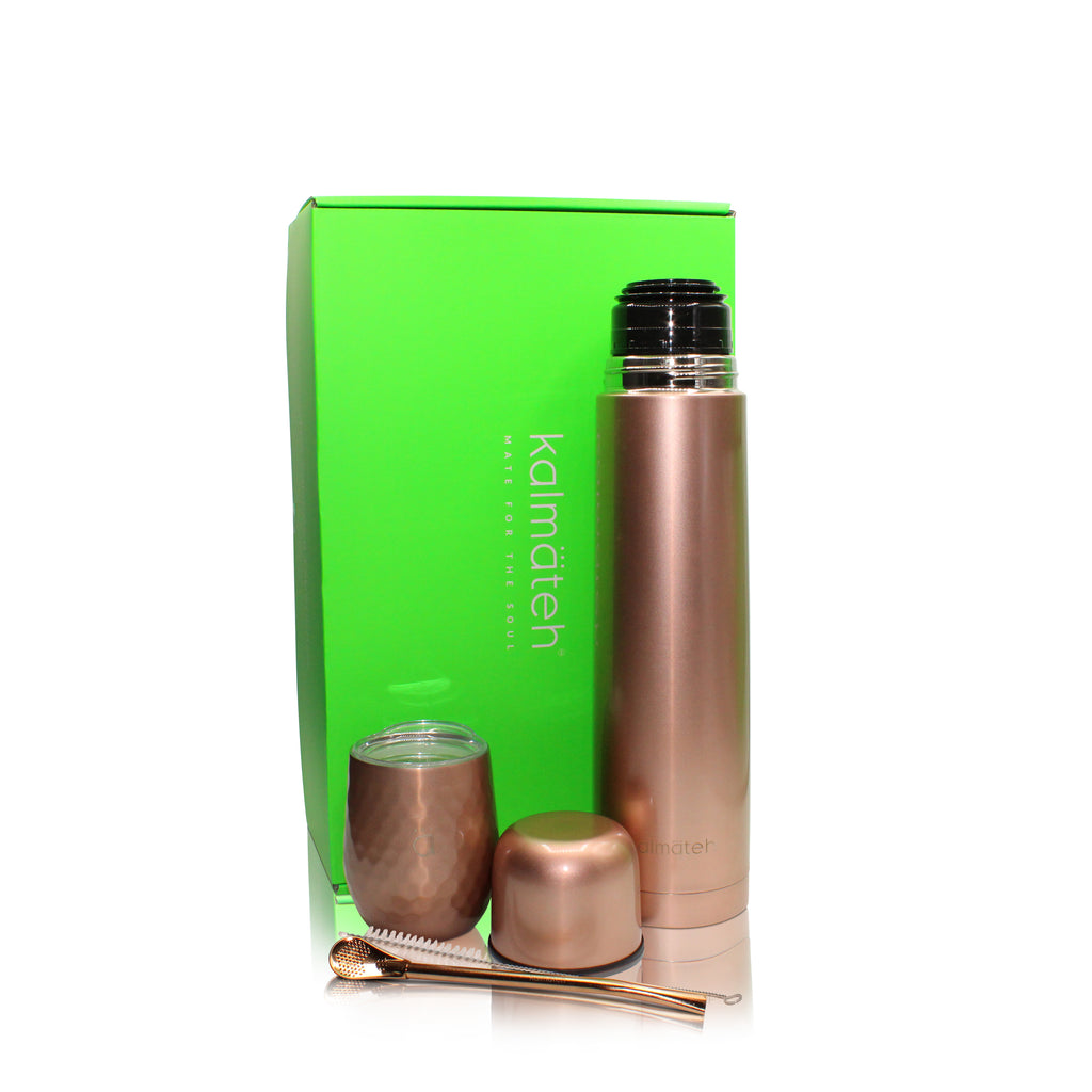 Rose Gold Mate Gourd (8oz) with Bombilla + Thermos 1000ml