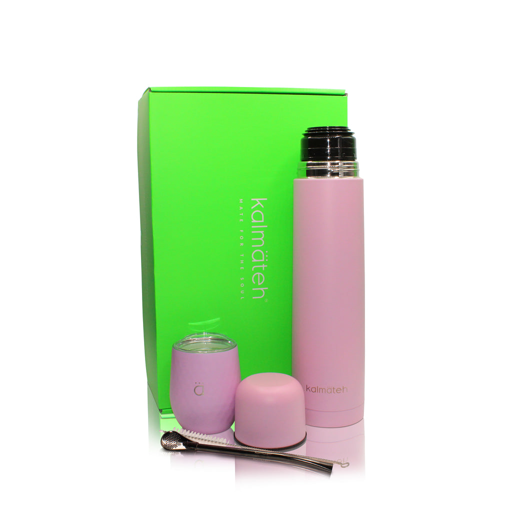 Pastel Pink Mate Gourd (8oz) with Bombilla + Thermos 1000ml
