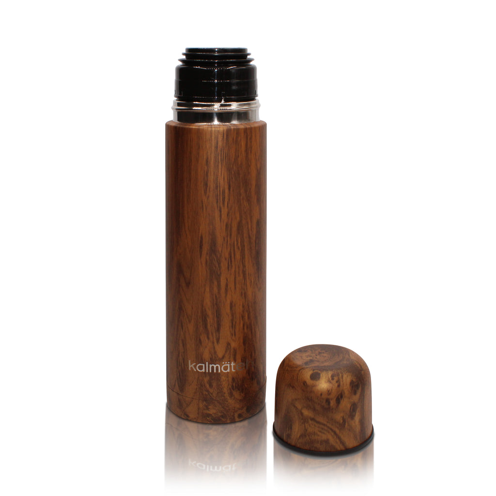 Wood Mate Gourd Extra Large (12oz) with Bombilla + Wood Mini Travel Thermos 500ml