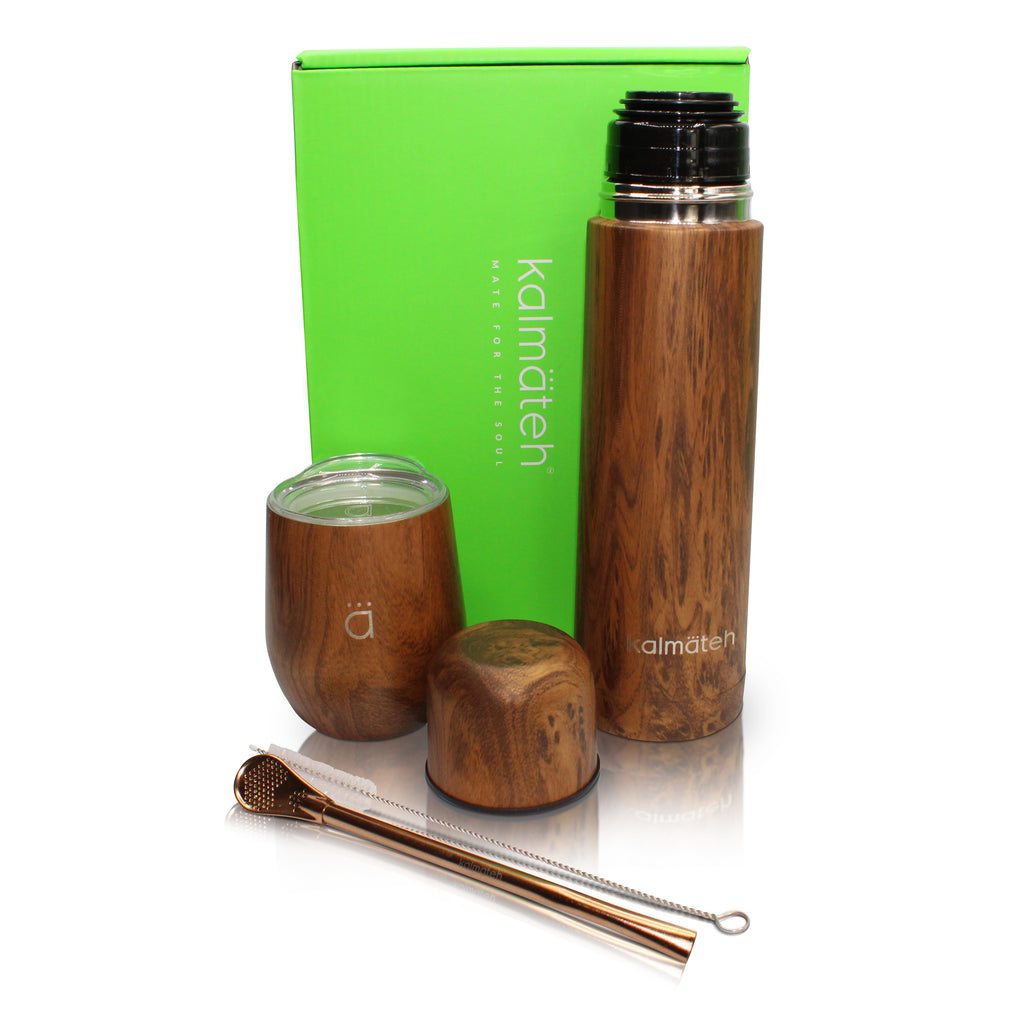 Wood Mate Gourd (8oz) with Bombilla + Wood Mini Travel Thermos 500ml