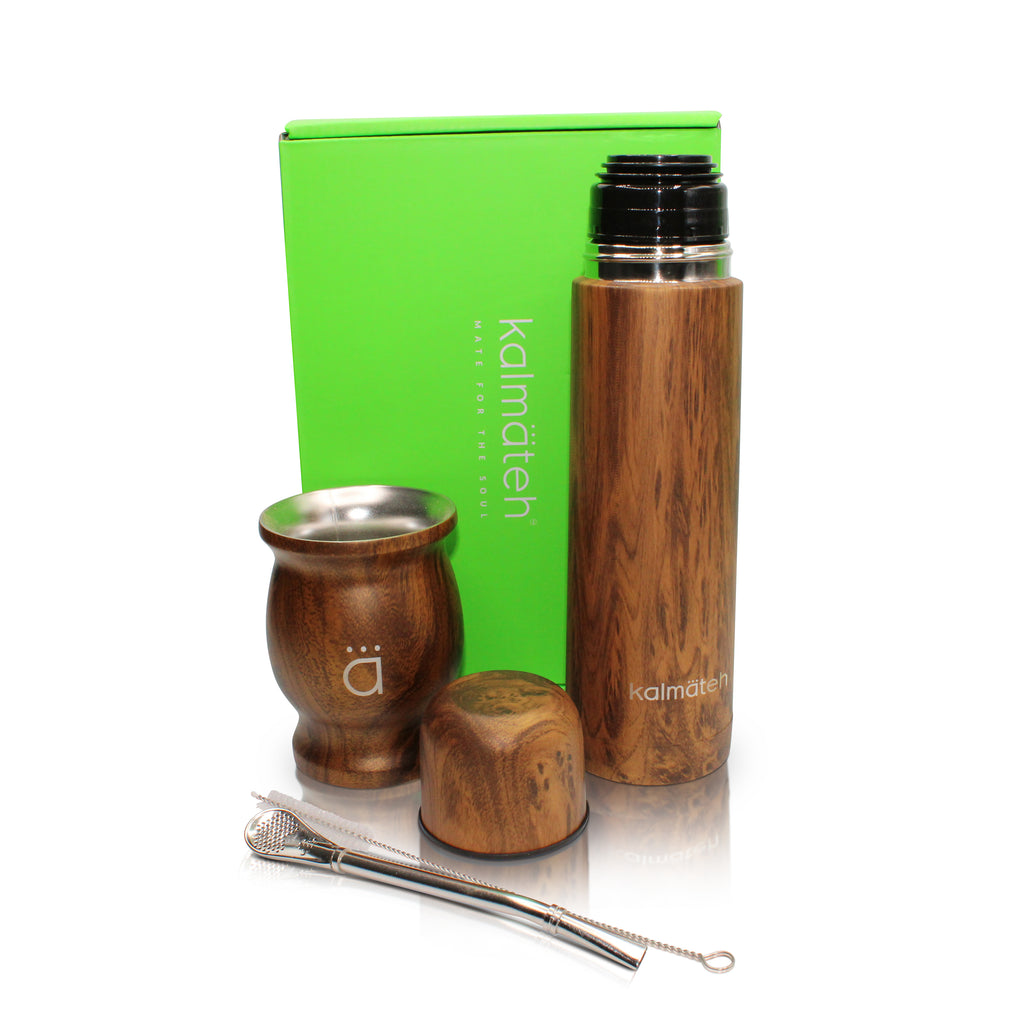 Wood Traditional Mate Gourd with Bombilla + Wood Mini Travel Thermos 500ml