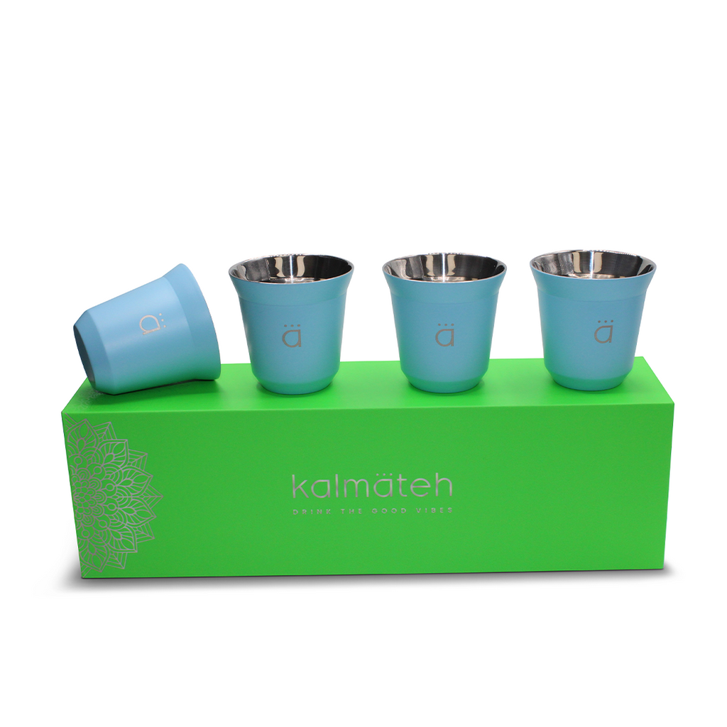 Sky Blue Espresso Coffee Cups (Set of 4)