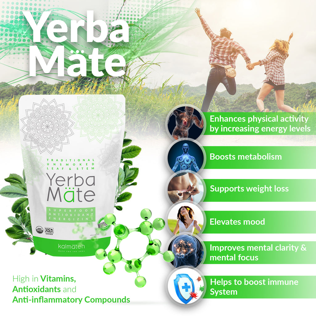 Organic Yerba Mate by Kalmateh - 2 lb. Traditional Unsmoked (2 Packs)