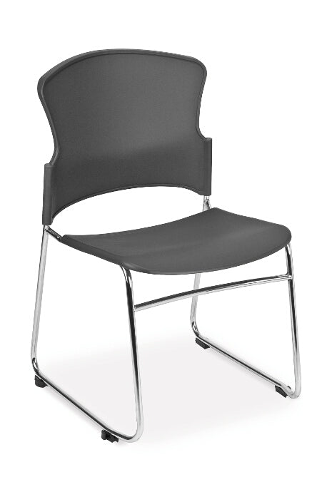 Black acrylic sled base side chair