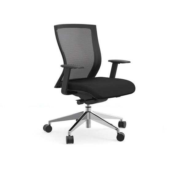 iDesk 404B Model Oroblanco Collection Mid Back Black Desk Chair (Used)