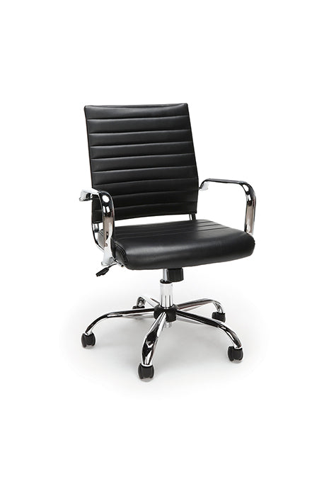 Ribbed Leather Executive Chair Black