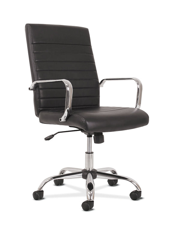 Black Leather Ribbed Chair (New)