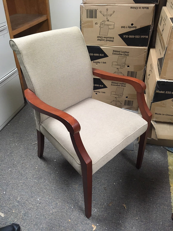 Baige Fabric with Cherry Frame Side chair